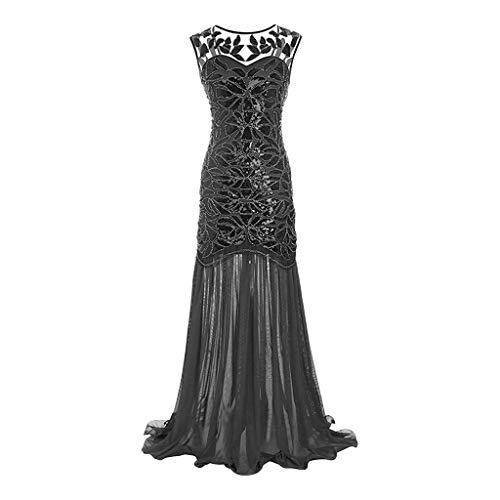 Retro Abend lang kleiden Rock Pailletten Chiffon schlank große Größe Patchwork ärmellos Tanz Party Cocktail Kleid URIBAKY