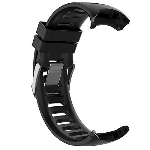 LOKEKE Correa de repuesto para reloj inteligente Garmin Forerunner 610, correa de silicona de repuesto para reloj inteligente Garmin Forerunner 610 (silicona negra)