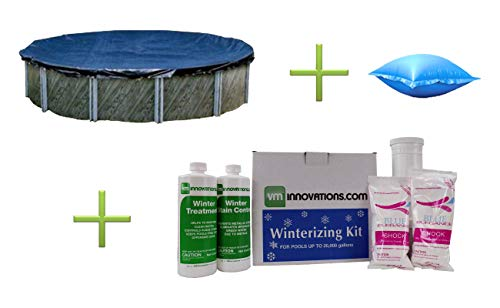 Swimline 24' Round Above Ground Pool Cover w/ 4'x8' Air Pillow + Winterizing Kit