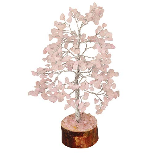 FASHIONZAADI Rose Quartz Gemstone Tree For Feng Shui Bonsai Reiki Healing Crystals Money Trees Chakra Balancing Stone Good Luck Crystal Home Decoration Table showpiece size -10 Inch (Silver Wire)