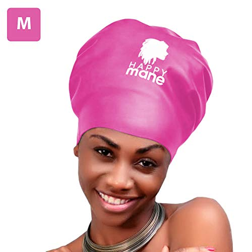 Happy Mane Large Extra Large XL Silicone Swim Cap for Braids and Dreadlocks - Dry Hair While Swimming and Long Hair, Extensions, and Curly Hair - Shower Cap for Women, Men, Kids (Pink, Small)