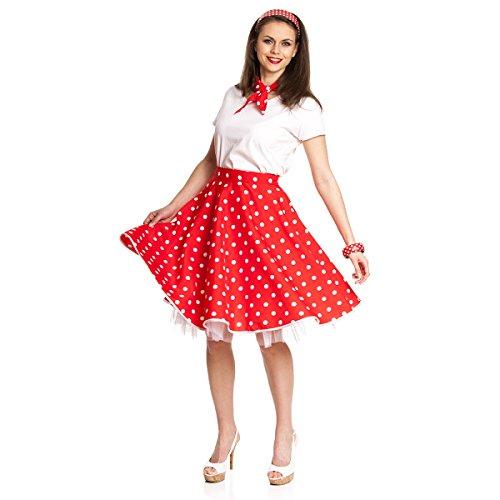 Kostümplanet® Rock-n Roll Rock Damen Kostüm 50-er Jahre Rockabilly Stil Outfit rot weiß Gepunkteter Tellerrock Faschingskostüm Knielang mit Halstuch