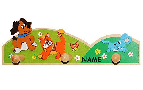 alles-meine.de GmbH Garderobe -  Tiere / Hund, Katze & Maus  - incl. Namen - aus Holz - Wandhaken Kindergarderobe - mit 3 Kleiderhaken / Hakenleiste - Kind Wandgarderobe - bunt..