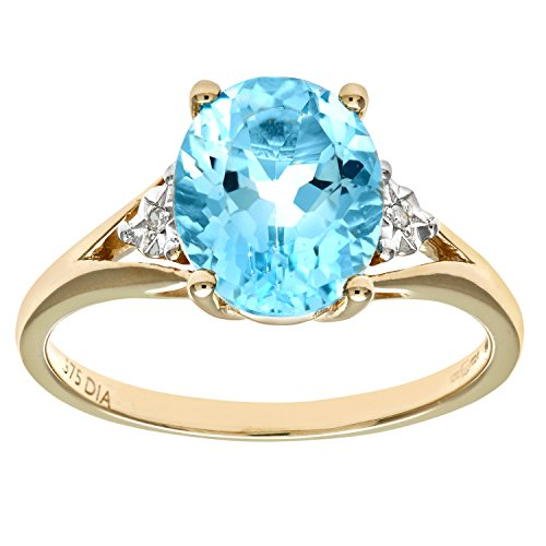 Naava Women's 9 ct Yellow Gold Oval Blue Topaz and Diamond Ring