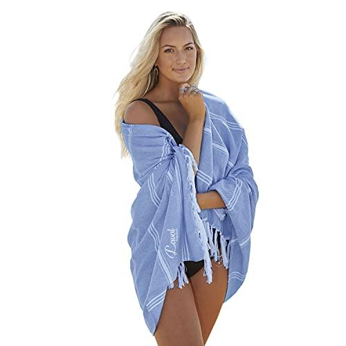 Laval Premium Toalla de playa (94 x 180 cm), prelavada, 100% algodón orgánico, de secado rápido, suave, grande, ligera, azul marino