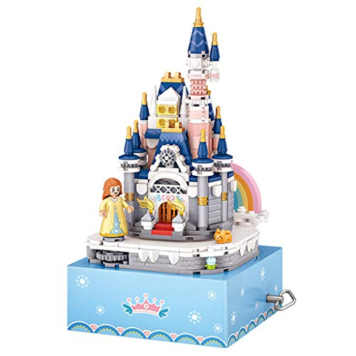 WANGFUFU Mini-building Princess Castle Rotating Music Boxes Music Box Small Grain Model Kids Christmas Toy Gift