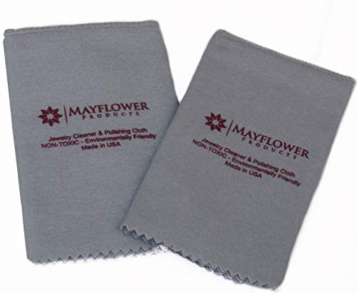 Pro Size Polishing Cloth Set of 2 Large Jewelry Cleaning Cloths| 100% Cotton| Made in USA for Gold Silver and Platinum Jewelry Coins Watches and Silverware| Tarnish Remover| Keep Jewelry Shining