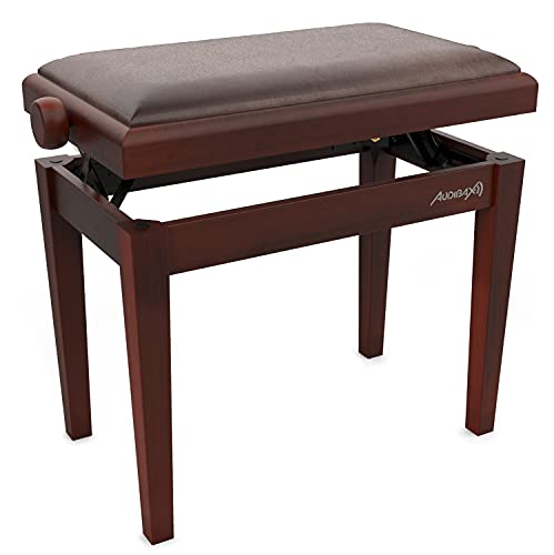 Audibax - KB600 - Banqueta para Piano - Nogal - 56.5 x 55.5 x 33.5 cm - Banco Ajustable - Acolchado y Regulable en Altura - Acabados en Mate - Diseño Clásico - Madera y Terciopelo Marrón