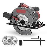 Sega Circolare Manuale, 1500W Mini Sege Circolarecon, 5000RPM Guida Laser, Profondità di Taglio: 65 mm (90°) / 45 mm (45°), Motore in Rame, con 2 Lame da 190 mm (24T/40T)