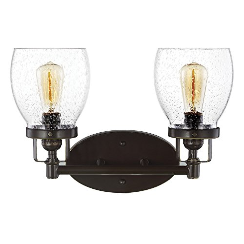 Sea Gull Lighting 4414502-782 Belton Two-Light Bathroom Light Or Wall Light With Clear Seeded Glass Shades, Heirloom Bronze Finish