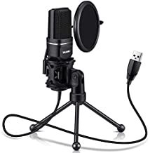 USB Microphone for Computer - Plug &Play Computer Microphone - Metal Condenser Recording Microphone with Pop Filter for Skype, Recordings for YouTube, Google Voice Search, Games (Windows/Mac)