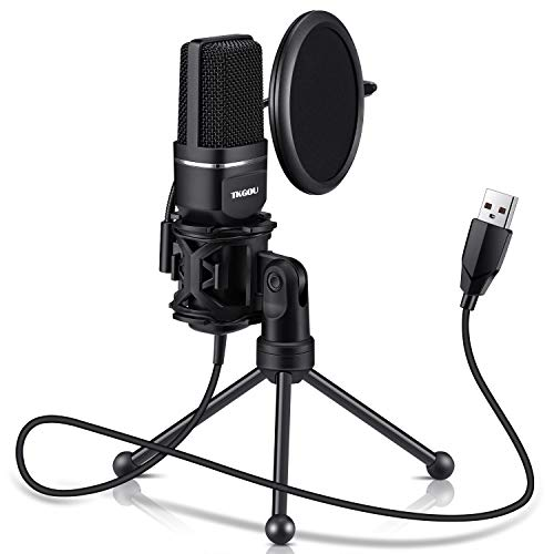 USB Microphone for Computer, Gaming PC Recording Condenser Microphone Tripod Stand & Pop Filter for...