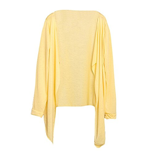 Cárdigan cascada para mujer, de verano, ligero, de manga larga, con frente abierto, casual, liso, de punto, parte frontal abierta, blusa larga, blusa para mujer, blusa suelta, chal