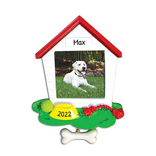 Personalized Dog House Frame Christmas Ornament for Tree 2018 - Generic Picture Display Bone dangling - Breed Neutral Faithful Furever Fluffy Aww Remembrance Memorial - Free Customization by Elves