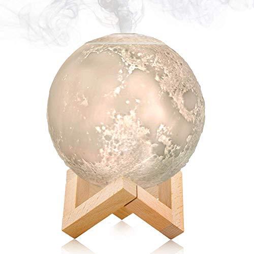 Lámpara de luna 3D de escritorio LED con función de humidificador de niebla fría, con 3 tonos de luz, control táctil e intensidad de niebla intermitente....