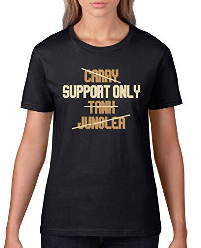 Comedy Shirts - Support Only - Damen T-Shirt - Schwarz/Hellbraun-Beige Gr. S