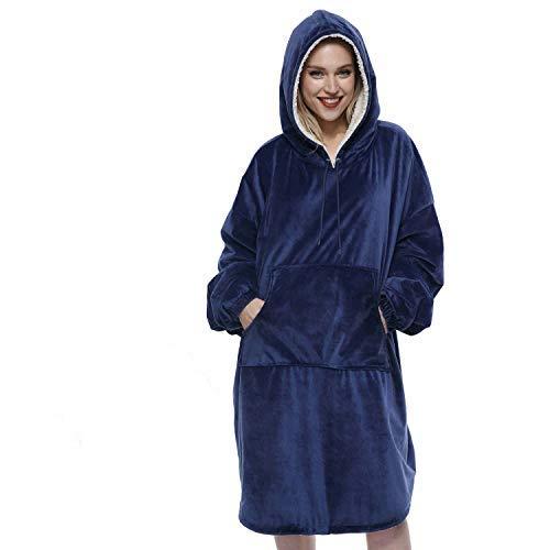 Movaty Felpa Coperta Oversize, Reversibile Cappotto con Cappuccio Sherpa Copertina in Pile a Maniche Lunghe con Tasche Ideale per Adulti Donna Uomo (Blu)