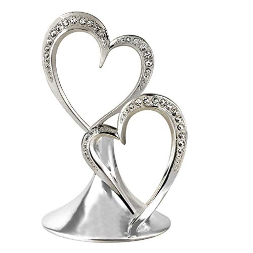 Wedding Cake Topper, Sparkling Love Interlocking Double Hearts, Engagement, Anniversary, Bridal Shower, 5.5-Inches, Metal with Rhinestones, Silver