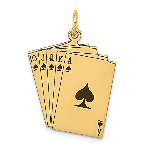 14k Yellow Gold Enameled Royal Flush Playing Cards Pendant Charm Necklace Gambling Fine Jewelry For Women Gifts For Her