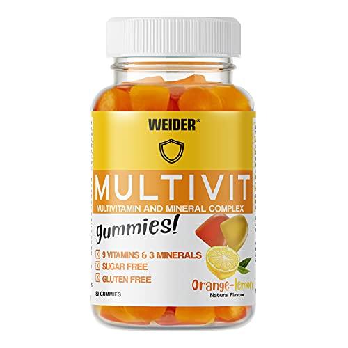 Joe Weider Victory Multivit Up 80 gummies, Sabor naranja y limón, Sin azúcares y sin gluten, Gominolas de vitaminas y minerales