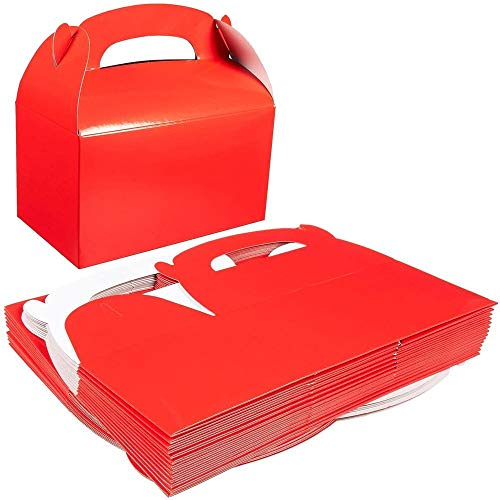 Pack of 24 Paper Treat Boxes - Gable Favor Boxes - Fun Party Play Goodie Boxes - 2 Dozen Bright Red Birthday Party Shower Loot Gift Boxes - 24 Count - 6.2 x 3.5 x 3.6 Inches