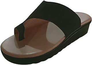 Missley Women Casual Sandals PU Flatform Flip Flops Summer Beach Slippers Big Toe Bone Correction Sandals