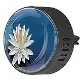 2 paquetes de difusor de coche con ambientadores de clip,Lotus Flowers White Art ,Aceite esencial de aromaterapia portátil para dormitorio