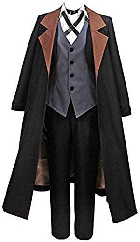 HonRmon Bungo Stray Dogs Nakahara Chuuya Detective Cosplay Costume Halloween Overcoat with hat (Men-XS) Black