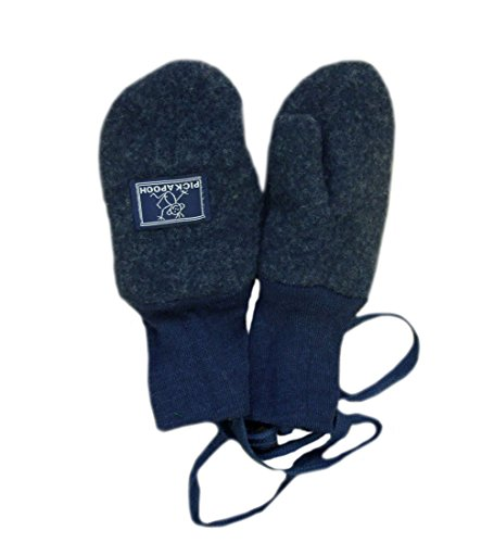 PICKAPOOH Fäustlinge, 100 % Merinowolle, für Babys und Kinder, Fleece-Handschuhe, Armwärmer für den Winter Gr. XS, dunkelblau