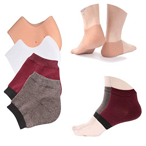 Pfedxoon Plantar Fasciitis Foot Pain Relief 4-Pairs Kit–Gel Heel Spur & Therapy Wraps – Heel Cups, Plantar Fasciitis Inserts,Heel Pads Cushion 2 Pairs–Moisturizing Heel Socks 2 Pairs