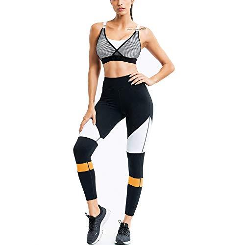 PAOFU-Women's Sports Gym Yoga Fitness Workout Active Wear Joggingpakken Training Bra En Legging Pants Set,Black,S