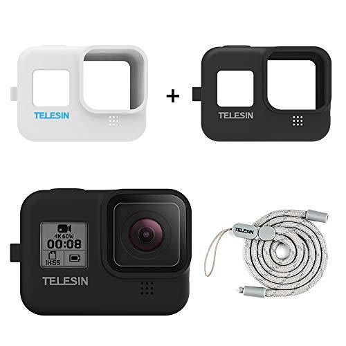 TELESIN Silikon Tasche für GoPro Hero 8 Black,Hero 8 Mantel und Kordel (Schwarz+Weiß)