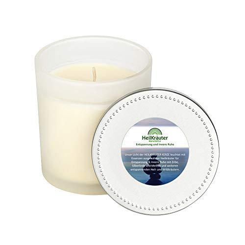 Heilkräuter Manufaktur Bio-Heil-Kräuter-Kerze für Entspannung und Innere Ruhe - Handarbeit aus Rapswachs und natürlichen Heilkräutern. Im Glass mit Deckel