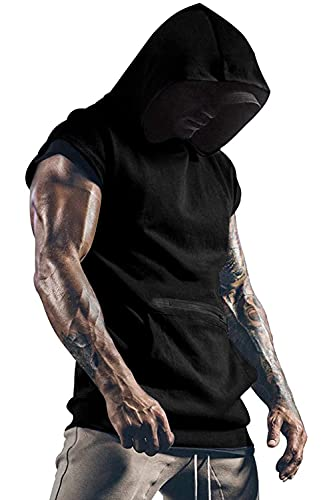 Yidarton Herren Tank Top Ärmelloser Workout Sport Hoodie Fitness T-Shirt Muskelshirt Für Gym Workout Bodybuilding Unterhemden (Large, Schwarz)