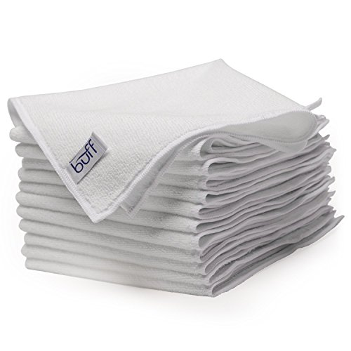 Buff Microfiber Cleaning Cloth | White (12 Pack) | Size 16
