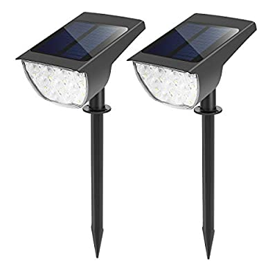 30 LEDs Solar Landscape Spotlights, IP67 Waterproof Solar Spot Lights Outdoor, 7000K Daylight, 2-in-1 Solar Powered Wall Lights for Yard Garden Driveway Porch Walkway Pool Patio - Cool White 2Pack