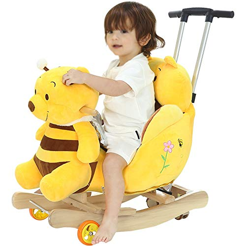 Kibten Children's Rocking Horse Rocking Chair Toy Toddler Yellow Bear Rocker Child First Ride on Pony Toy Wooden Plush Rocker Kids Soft Toys Gift for Infant Boy Girl Kids