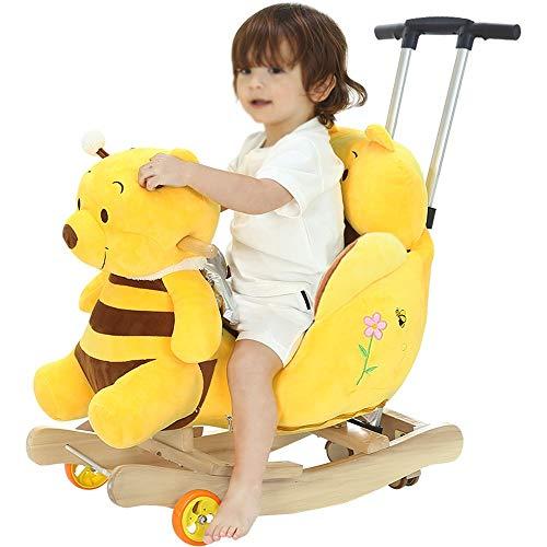 Kibten Children's Rocking Horse Rocking Chair Toy Toddler Yellow Bear Rocker Child First Ride on Pony Toy Wooden Plush Rocker Kids Soft Toys Gift for Infant Boy Girl Kids