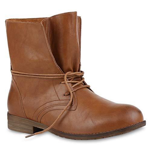 Stiefelparadies stiefelparadies Damen Stiefeletten Schnürstiefeletten Leder-Optik Schuhe Kurzschaft-Stiefel Boots Klassische Schnürboots 59677 Braun 36 Flandell
