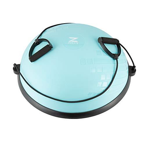 Z ZELUS 60 cm Pelota de Equilibrio Inflable con Bomba Bola de Yoga con 2 Bandas de Fitness Pelota de Yoga con Plataforma Capacidad 300 kg Equipo de Entrenamiento de Fuerza Yoga, Fitness (Verde Menta)
