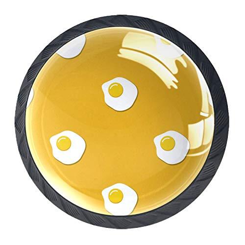 Juego de 4 pomos de cristal para gabinete de 1,18 pulgadas, tiradores de cristal para cocina, gabinete de baño, aparador y armario, patrón de alimentos sin costuras