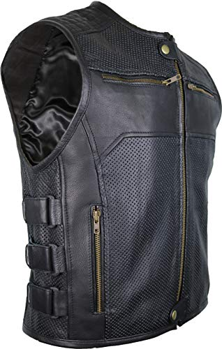 Reißverschluss Motorradweste aus echtem Leder (M)