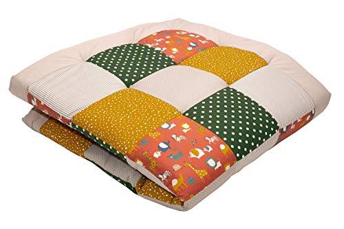 ULLENBOOM ® Baby Krabbeldecke 140x140 cm gepolstert Zoo (Made in EU) - Krabbeldecke für Baby mit 100% ÖkoTex Baumwolle, ideal als Babydecke & Spieldecke