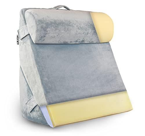 NACHTWEIH Cojín lumbar para cama/sofá, cojín de lectura [parte superior de espuma viscoelástica] cojín en cuña con funda mullida y cojín cervical cómodo para relajarse, respaldo extra grande.