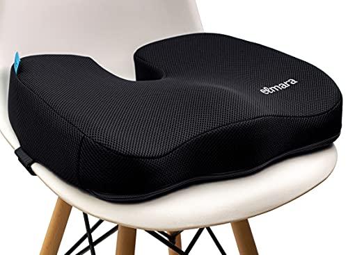 Elmara Orthopedic Coccyx Seat Cushion Office Chair Cushion, Memory Foam Car Seat Cushion for Back Pain, Ergonomic Desk Chair Cushion for Tailbone, Sciatica Pain Relief, Wheelchair Cushion (Black)