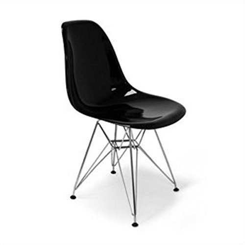 Aeon Furniture Chantal Dining Chair in Gloss Black and Stainless Steel