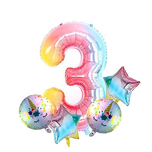 Amazi Children Birthday Balloons,3D Air Helium Balloons, Jumbo Doughnut Numbers, Party Ornaments for Celebration, Foil Rainbow Balloons, Joyful Wedding Party Decoration Balloons, 5pcs/Set(NO.3 Style)