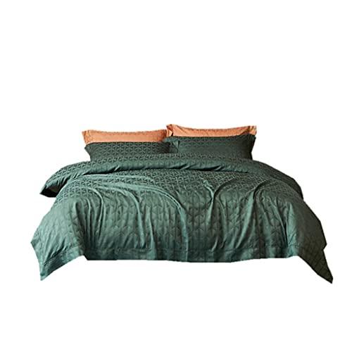 XQWLP Biancheria da letto in cotone a fibra lunga in cotone egiziano Jacquard 100 stile europeo in quattro pezzi in puro cotone (Color : Green, Size : 1.8m (6 feet) bed)