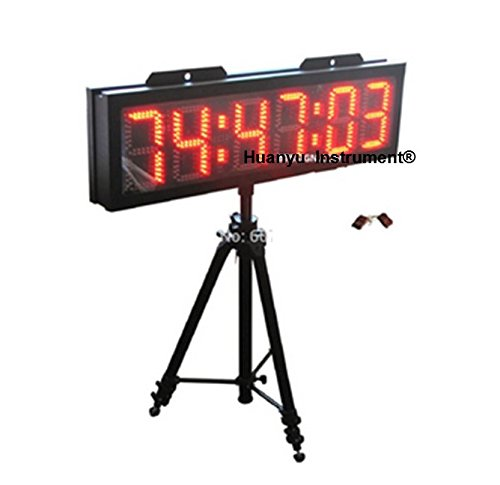 Huanyu BO6T-8''R 8 '' karakter hoge rode kleur LED Countdown wandklok voor paardenraces timing sport timer LED rennen timer klok met statief