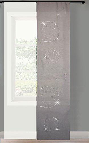 Gardinenbox 2er Set Schiebegardine Flächenvorhang Strass Blickdicht und Voile Paneel transparent, 245x60, Grau Circle, 856250